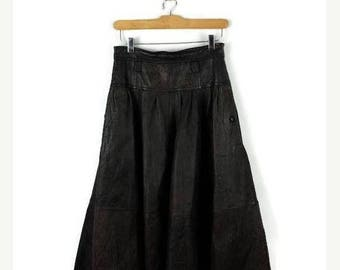 ON SALE Vintage Brown Leather/Stripe Flare Long Skirt from 1980's/ W26*
