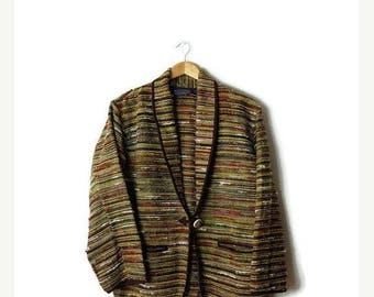 ON SALE Vintage Yellow x Multi color Stripe Blazer Jacket  from 90's*