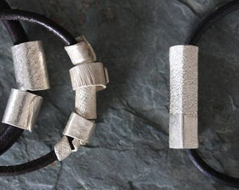 Leather bracelet with 5 handmade silver beads with textured surface (B0063)