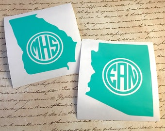 Personalized State Monogram Decal State Decal State Monogram Laptop Decal Car Decal Yeti Decal State