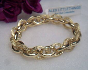 Oval Chain Link Stretch Bracelet Chunky Textured Costume Jewelry Gold Tone
