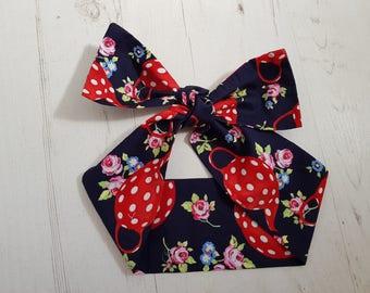 Navy Blue Polka Dot Tea Pot Bow Head Scarf - Rockabilly Vintage Tea Party Hair