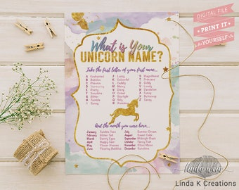 What is Your Unicorn Name?   Unicorn game, Unicorn Birthday, Unicorn Party Sign   INSTANT DOWNLOAD Ready to print File [Pastel Watercolor]