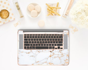 Marble Bianco Sivec and Rose Gold Detailing Inner Keyboard Tray Vinyl Skin for Apple Air & Retina , Macbook Pro 2017 - Platinum Edition