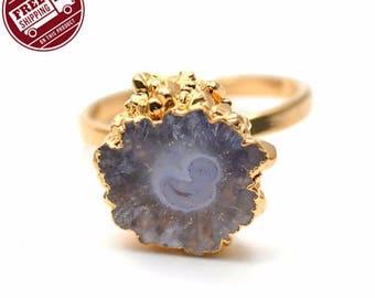 45% OFF Solar Rustic Druzy Ring, 22k Gold Electroplated Gemstone Druzy Adjustable Ring 1pc (DZRG-12055)