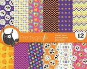 80% OFF SALE Halloween digital paper, Sugar Skulls commercial use, day of the dead scrapbook papers, background, halloween - PS887