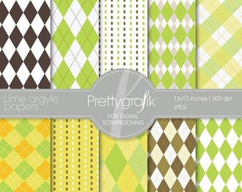 80% OFF SALE Lime argyle digital paper, commercial use, scrapbook papers, background  - PS515