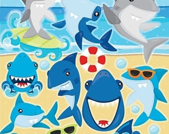 80% OFF SALE Shark clipart, Sharks commercial use, Shark vector graphics, shark party digital clip art, CL945