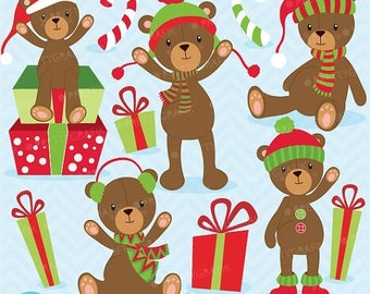 80% OFF SALE 80 Percent 0FF Sale Christmas Teddy bear clipart commercial use, vector graphics, digital clip art, digital images  - Cl608