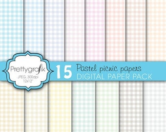 80% OFF SALE gingham picnic pattern digital paper, commercial use, scrapbook papers, background  - PS603