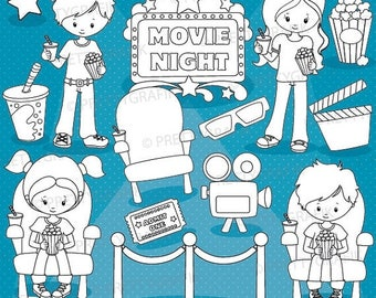 80% OFF SALE Movie night digital stamp commercial use, vector graphics, digital stamp, images - DS920