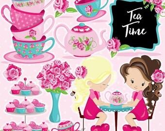 80% OFF SALE Tea Time clipart commercial use, tea party vector graphics, tea printable digital clip art, tea time images  - CL953