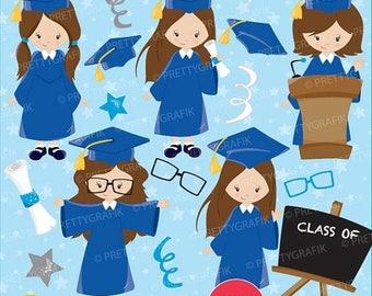 80% OFF SALE Graduation girls clipart commercial use, vector graphics, digital clip art, digital images - CL669