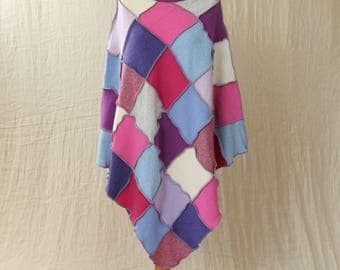 Upcycled Patchwork Poncho. Recycled Wool Knitwear. Cowl Neck, Medium. Purple, Pink, Blue. Handmade UK OOAK Ethical Clothing. Ecofashion