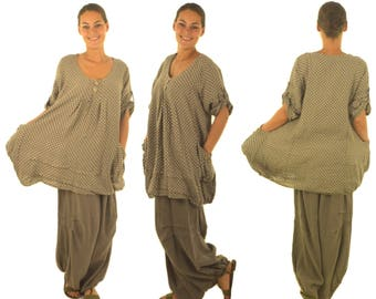 HF100TP46 women's tunic blouse linen layered look vintage size 46 Taupe