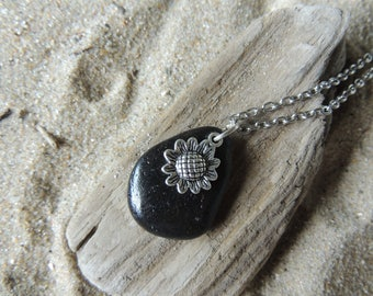 Handmade Natural Beach Stone Necklace with Silver Sunflower Daisy Flower Charm on Chain