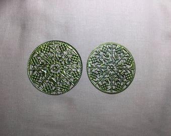 2 Pcs Antique Bronzé Filigree Connectors 47 mm