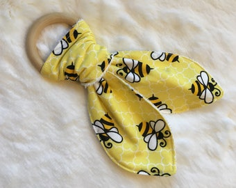 Wooden Teething Ring - Natural Teether - Bunny Teether - Modern Baby - Spring