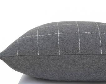 Decorative Pillow, Gray Pillow, Wool Felt Pillow Cover, Cushion Cover, Elegant Geometric Design, Modern Decor Sofa Pillow, Housewarming Gift