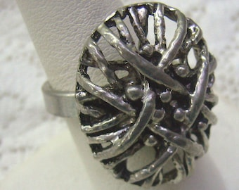 Vintage Silver/Pewter Brutalist Ring...Guy Vidal/Larin Style...Size 7...Modernist...Abstract ...