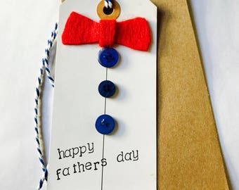 Father's Day card // happy Father's Day- flower // gift tag shaped card // bow tie// card and envelope