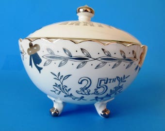 Lefton 25th Silver Wedding Anniversary Covered Bowl, Candy Dish, Hand Painted