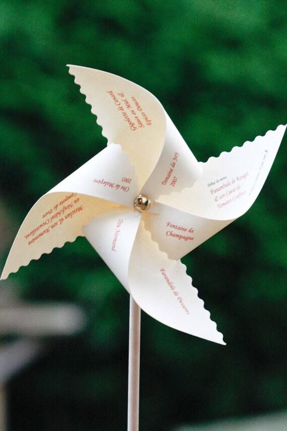 Fabulous Menu de mariage original en forme de moulin à vent Fait main QI15