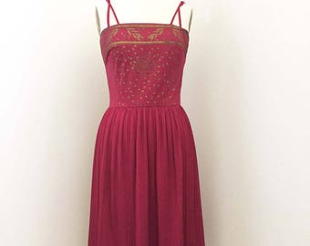 Vintage Alfred Shaheen Cranberry and Gold Red Pleat Skirt Dress