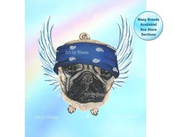 Pug - Pug Angel - Pug Art - Pug Life - Dog Angel - Pug Gift - Pug Painting - Pet Loss Gift - Pug Memorial - Pet Memorial - Rainbow Bridge