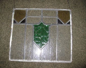 """ANTIQUE STAINED GLASS Panel Leaded Glass 17"""" x 15"""" Panel Removed From Antique Window Green Shield In Midle Amber Glass Upper Corners"""