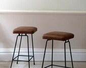 Vintage Mid-Century Leather Counter Stools