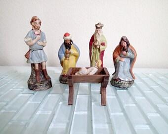 Christmas Nativity Scene GERMANY Paper Mache 1930s 1940s - 5 Statues