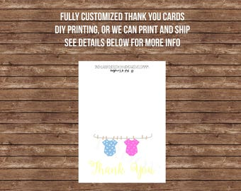 Double baby shower thank you card- Twins, boy and girl, baby boy, baby boy, joint baby shower, printed or printable, folded card