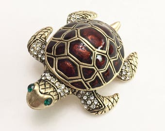 Vintage Turtle Brooch Pin, I thinks it is brass - Costume Jewelry - Collectible Brooch