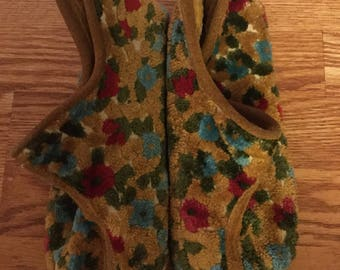 Vintage suede tapestry slippers womens 9