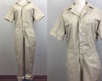 Vintage 80s BIG BEN Wrangler Khaki Workwear Coveralls Jumpsuit Boilersuit M