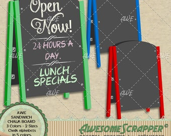 Digital Clipart - Sandwich Chalk Board Set, by AwesomeScrapper, 3 chalk boards, 2 sizes 6 total, plus 5 colored chalk like alphabets