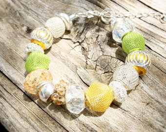 Green, Gold, Silver European Beaded Bracelet - MY LIFE SERIES by Precision Princess