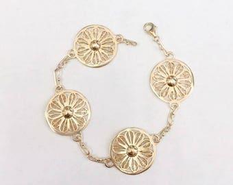 Vintage 1940s Pinwheel Disc Bracelet - 14k