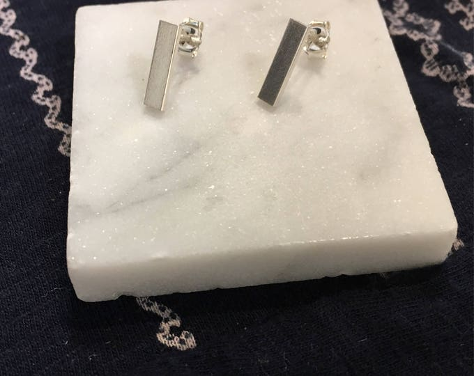 silver rectangle bar studs - brushed mirror finish - wild grace jewelry