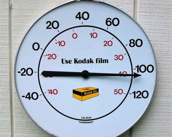 Vintage Large 18 inch Wide In Diameter Metal Tin Use Kodak Film Thermometer Advertising