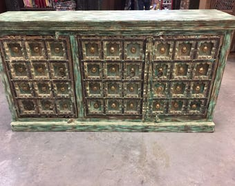 Turquoise Green Distressed Carved Brass Metal Farmhouse Vintage Old Doors Sideboards Chest Storage Buffet TV Console