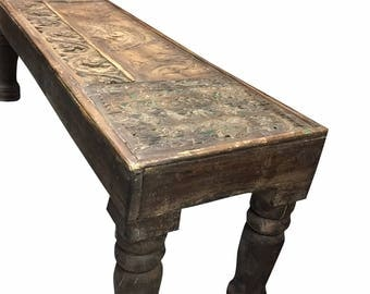 Antique sofa table hand carved om wooden blocks BENCH console chai table FREE SHIP Cyber Sale