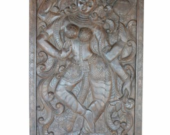 Vintage Hand Carved Durga Goddess SHAKTI Barn Doors Indian Divine ECLECTIC BOHO Chic Decor
