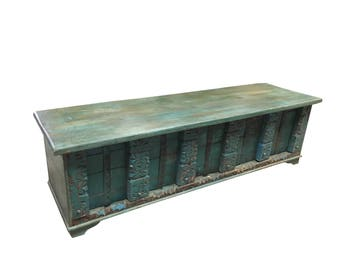Vintage Trunk Blue Distressed Rustic Wood Bench Table Rustic Shabby CHIC Interior CHRISTMAS Sale