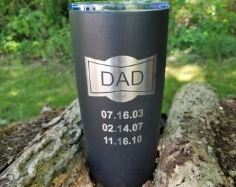 Father Dad Mug, Est Birthday Thermal Dad or Daddy Coffee Personalized Names or Birth Dates Grandpa or Granddad Dad The Man The Myth Engraved
