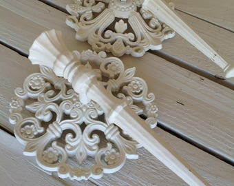 Vintage Ornate Wall Scones Set Candle Holders Heirloom White Home Living Home Decor Shabby Chic Wall Decor by picadillymarket