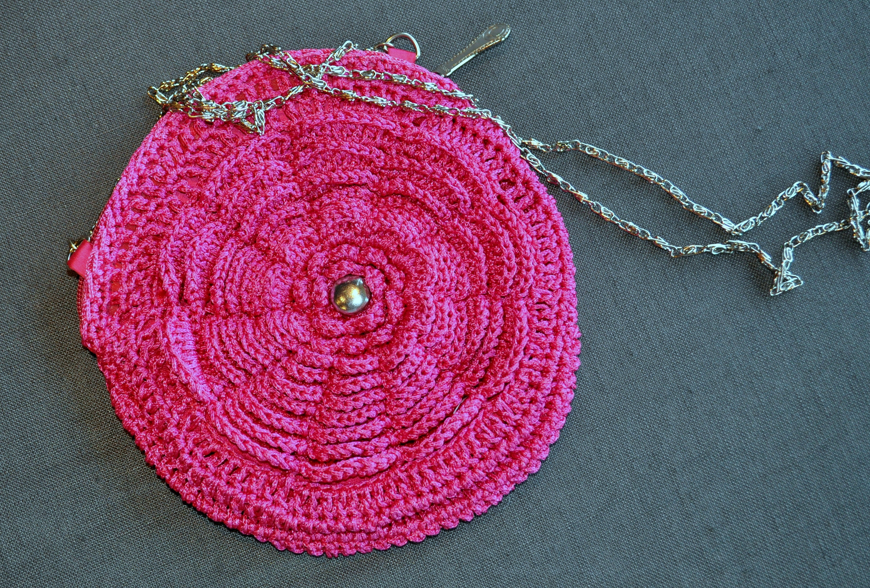 Crochet Handbag Pink Shoulder Bag Round Handbag Prom Bag Gift