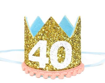 40th Birthday For Her || Dirty 30 Birthday || 40th Birthday Hat || Adult Party Hat || Birthday Crown Adult
