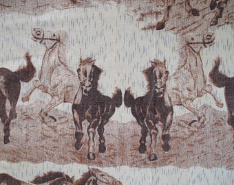 1970s Wild Horse Tapestry Fabric Bedspread